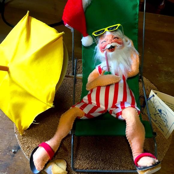 """Annalee Maui Santa 10"""" in Lounge Chair 1990 #5414"""